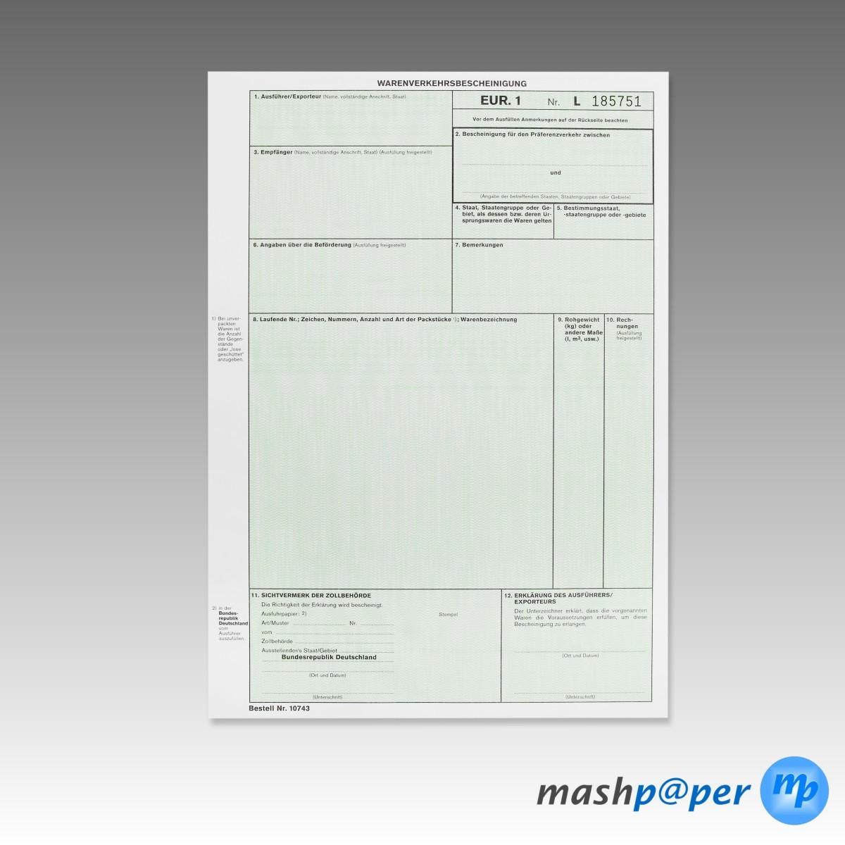 EUR.1 / EUR1 Formular Warenverkehrsbescheinigung für Laserdrucker ...