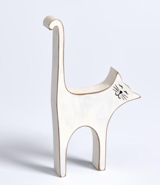 Dekofigur Katze, weiss, Höhe 17 cm