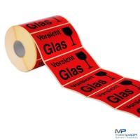Etiketten Aufkleber Vorsicht Glas rot auf Rolle