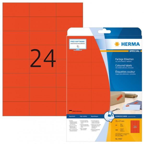 HERMA SPECIAL Etiketten 4467 Laseretiketten 70,0x37,0 mm rot