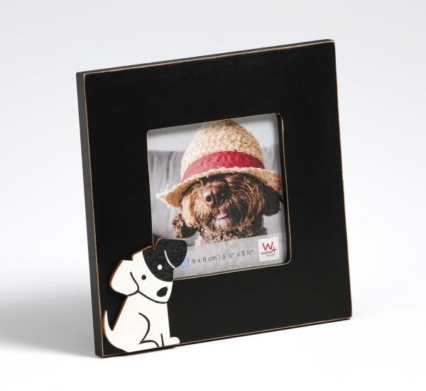 Portraitrahmen Hund, 9x9 cm, schwarz
