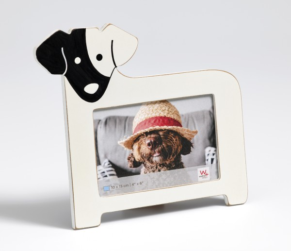 Portraitrahmen Hund, 10x15 cm, weiss