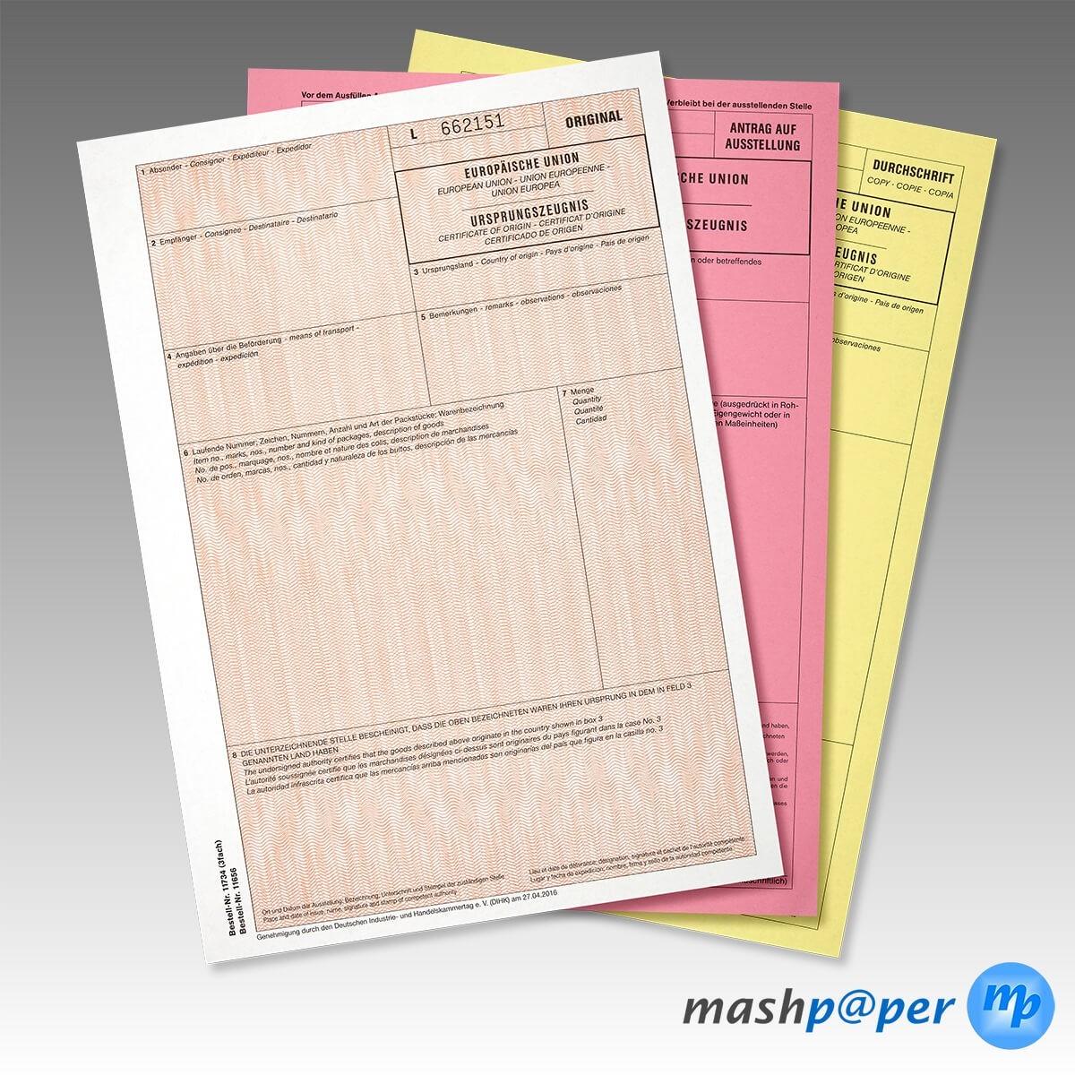 Ursprungszeugnis Formular Vordruck mit Kopie nummeriert - kaufen ...