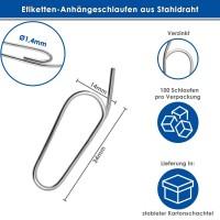 Etiketten-Anhängeschlaufen Drahtschlaufen 14x34 mm verzinkt