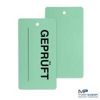 Warenanhänger GEPRÜFT Kunststoff grün PVC 65 x 120 mm mit QM-Motiv