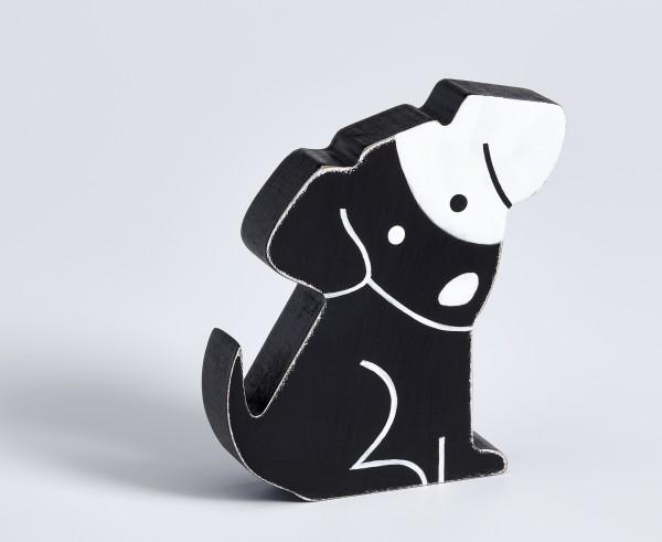 Dekofigur Hund, schwarz, Höhe 10 cm