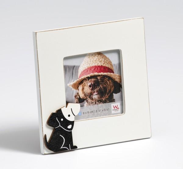 Portraitrahmen Hund, 9x9 cm, weiss