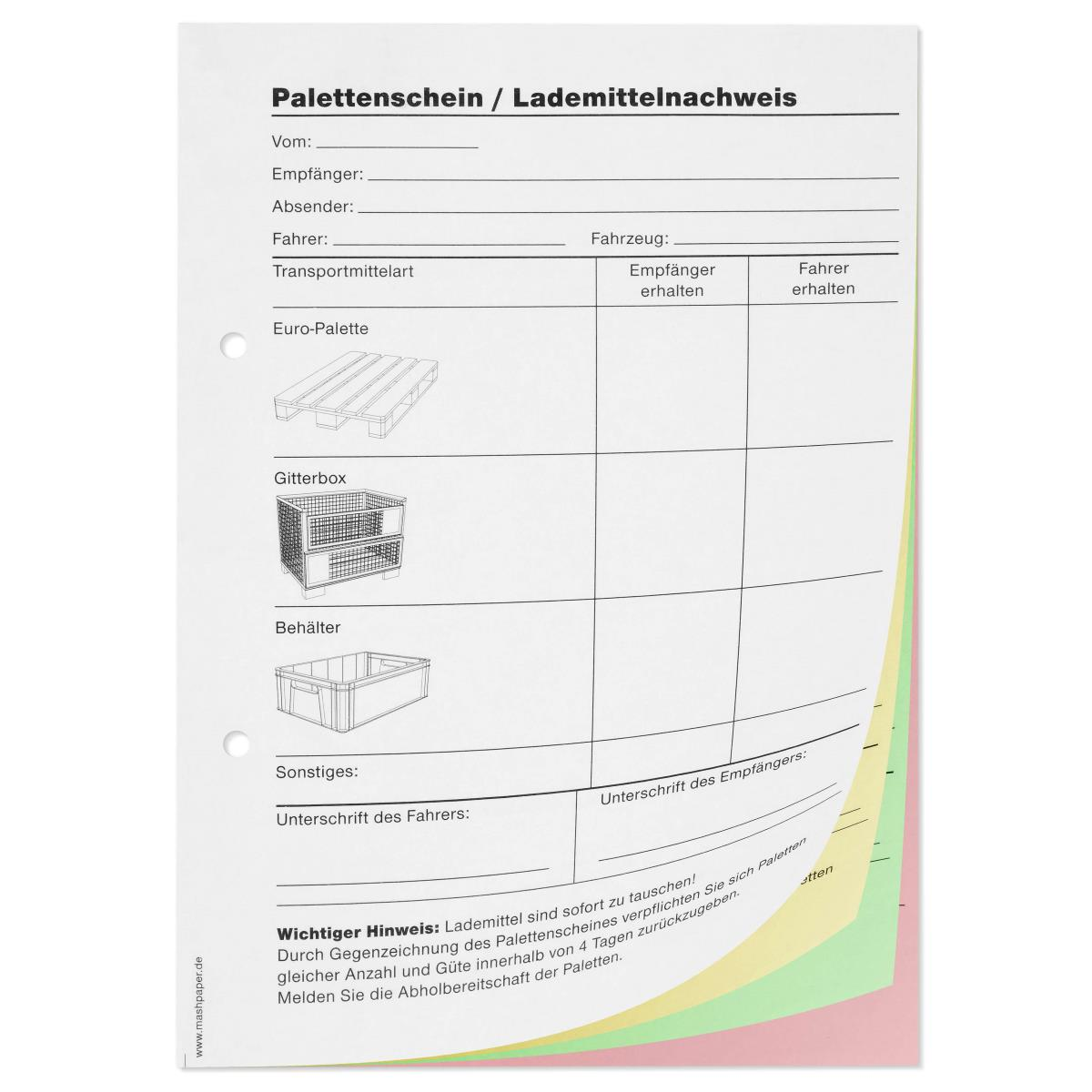 Palettenschein Din A5 Quer Block 11801
